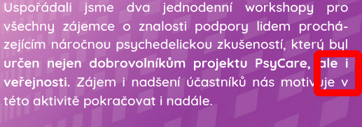 Regular spaces instead of working non-breaking spaces put single-letter words such as these prepositions in Czech language to the end of lines which is against the typographic standard for Czech language.